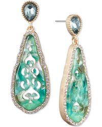 Lonna & Lilly - Gold-tone Stone & Crystal Cut-out Drop Earrings - Lyst