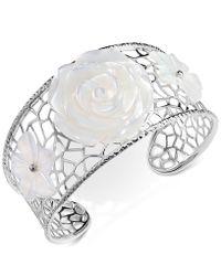 Macy's - Mother-of-pearl Flower Openwork Cuff Bracelet In Sterling Silver - Lyst