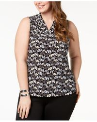 Anne Klein - Plus Size Printed Pleated-neck Top - Lyst