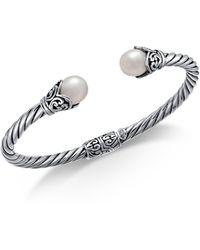Macy's - Cultured Freshwater Pearl (8mm) Filigree Bangle Bracelet In Sterling Silver - Lyst