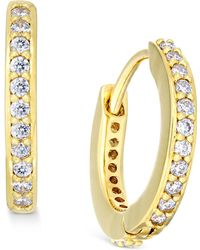 Danori - Gold-tone Crystal Pavé Huggy Hoop Earrings - Lyst