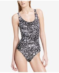 be78fe80affe8 Calvin Klein Floral One-piece Swimsuit in Black - Save 50% - Lyst