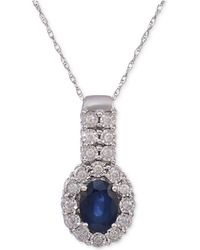 Macy's | Sapphire (1-1/5 Ct. T.w.) & Diamond (1/4 Ct. T.w.) Pendant Necklace In 14k White Gold | Lyst