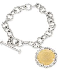 Giani Bernini - Two-tone Coin Charm Toggle Bracelet In Sterling Silver & 18k Gold-plate, Created For Macy's - Lyst