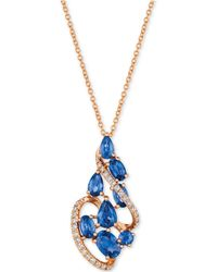 "Le Vian - ® Blueberry Sapphiretm (2-3/8 Ct. T.w.) & Diamond (1/5 Ct. T.w.) 18"" Pendant Necklace In 14k Rose Gold - Lyst"