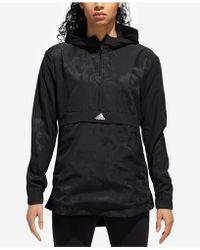 adidas - Floral-print Half-zip Hooded Jacket - Lyst