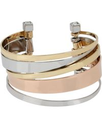 BCBGeneration - Tri-tone Multi Bar Row Cuff Bracelet - Lyst