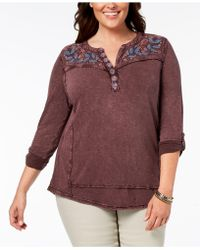 Style & Co. - Plus Size Cotton Embroidered Distressed Top, Created For Macy's - Lyst