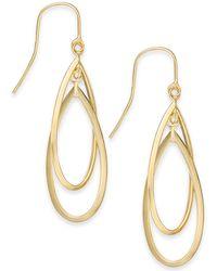 Macy's - Double Hoop Dangle Drop Earrings In 14k Gold - Lyst