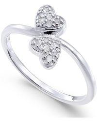 Macy's | Diamond Double Heart Ring (1/10 Ct. T.w) In Sterling Silver | Lyst