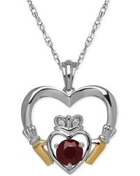 Macy's | Ruby (5/8 Ct. T.w.) And Diamond Accent Heart Pendant Necklace In Sterling Silver And 14k Gold | Lyst