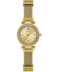Guess - Women's Gold-tone Stainless Steel Bracelet Watch 27mm - Lyst