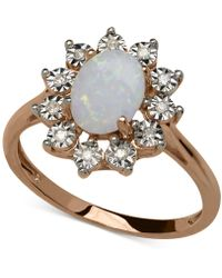 Macy's | Opal (3/4 Ct. T.w.) And Diamond Accent Oval Ring In 14k Rose Gold | Lyst