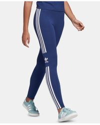 1fecb86e06cf6 adidas Originals Three Stripe Leggings In Blue And Orange in Blue - Lyst
