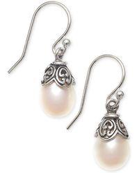Macy's - Cultured Freshwater Pearl (8mm) Drop Earrings In Sterling Silver - Lyst