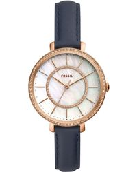 Fossil - Jocelyn Blue Leather Strap Watch 36mm - Lyst