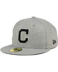 100% authentic 52376 50ab3 KTZ - Cleveland Indians Heather Black White 59fifty Cap - Lyst