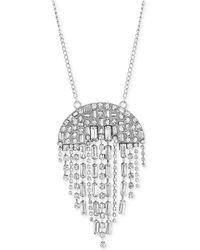"Steve Madden - Silver-tone Crystal Fringe 34"" Pendant Necklace - Lyst"