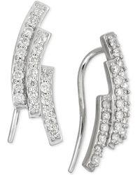 Macy's | Diamond Three-row Earrings (1/2 Ct. T.w.) In 14k White Gold | Lyst