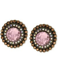 Betsey Johnson - Gold-tone Crystal Gem Button Stud Earrings - Lyst