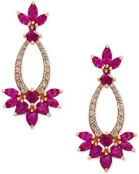 Effy Collection | Certified Ruby (3-3/4 Ct. T.w.) And Diamond (1/3 Ct. T.w.) Drop Earrings In 14k Rose Gold | Lyst