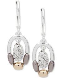Nine West - Tri-tone Pavé Bead Orbital Drop Earrings - Lyst