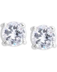 Nine West - Earrings, Silver-tone Round-cut Crystal Stud Earrings - Lyst