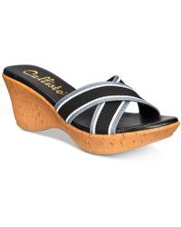 e71ede0349b1 Callisto - Segway Slide Platform Wedge Sandals - Lyst