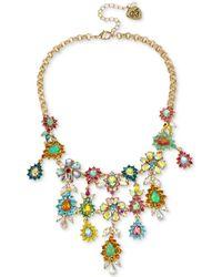 "Betsey Johnson - Gold-tone Multi-stone Flower Statement Necklace, 15"" + 3"" Extender - Lyst"