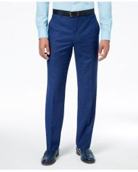 Sean John - Classic-fit Stretch Solid Blue Textured-grid Suit Pants - Lyst