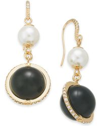Charter Club - Gold-tone Pavé & Imitation Pearl Drop Earrings, Created For Macy's - Lyst