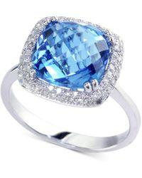 Effy Collection - Effy® Blue Topaz (5-3/4 Ct. T.w.) & Diamond (1/4 Ct. T.w.) Ring In 14k White Gold - Lyst