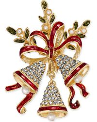 Charter Club - Holiday Lane Gold-tone Pavé & Epoxy Bells And Ribbon Pin, Created For Macy's - Lyst