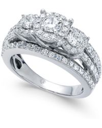 Macy's - Diamond Halo Cluster Engagement Ring (1-1/2 Ct. T.w.) In 14k Gold - Lyst