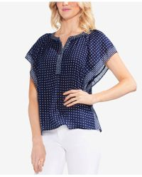 Vince Camuto - Printed Flutter-sleeve Top - Lyst