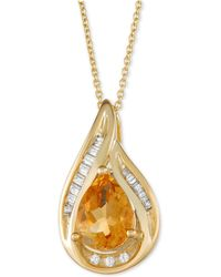 "Macy's - Citrine (1 Ct. T.w.) & Diamond (1/10 Ct. T.w.) 18"" Pendant Necklace In 14k Gold - Lyst"
