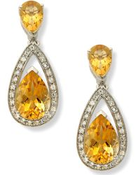 Macy's | Sterling Silver Earrings, Citrine (5-1/10 Ct. T.w.) And Diamond (1/5 Ct. T.w.) Pear Drop Earrings | Lyst