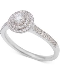 Macy's - Diamond Double Halo Engagement Ring (1/2 Ct. T.w.) In 14k White Gold - Lyst