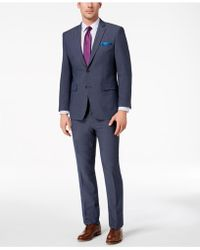 Perry Ellis - Slim-fit Stretch New Blue Textured Suit - Lyst