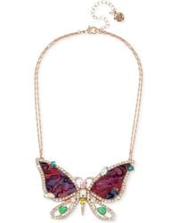 """Betsey Johnson - Rose Gold-tone Crystal & Stone Butterfly Pendant Necklace, 15"""" + 3"""" Extender - Lyst"""