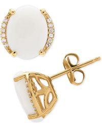 Macy's - Opal (2 Ct. T.w.) & Diamond Accent Stud Earrings In 14k Gold - Lyst