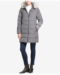 DKNY - Petite Faux-fur-trim Hooded Puffer Coat, Created For Macy's - Lyst