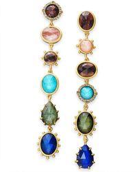 Kate Spade - Gold-tone Multi-stone Linear Drop Earrings - Lyst