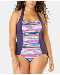 62aa3b1db19 La Blanca Plus Size Moment Of Zen Bandeau One-piece Swimsuit in Blue - Save  10% - Lyst