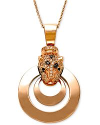 Effy Collection - White Diamond (1/3 Ct. T.w.), Black Diamond (1/4 Ct. T.w.) And Emerald Accent Panther Pendant Necklace In 14k Rose Gold - Lyst
