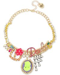 "Betsey Johnson - Gold-tone Multi-charm Pendant Necklace, 15"" + 3"" Extender - Lyst"
