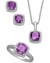Macy's - Sterling Silver Jewelry Set, Cushion Cut Amethyst Pendant, Earrings And Ring Set (4-1/3 Ct. T.w.) - Lyst