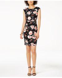Ivanka Trump - Floral-print Ruched Jersey Dress - Lyst