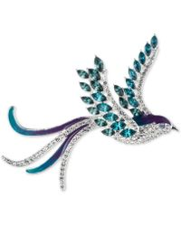 Anne Klein - Silver-tone Bluebird Pavé And Crystal Pin - Lyst
