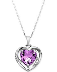 """Macy's - Amethyst (1-3/4 Ct. T.w.) & Diamond Accent 18"""" Pendant Necklace In 14k White Gold - Lyst"""